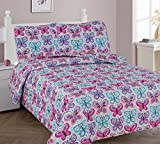 Elegant Home Cute Girls Butterflies Floral Multicolor Blue White Pink 3 Piece Full Size Coverlet Bedspread Quilt for Kids Teens / Girls # Butterfly Blue (Full)