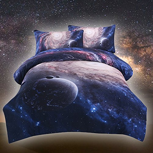 Sleepwish Galaxy Bedding Sets 3D Printed Space Quilt Set Kids Duvet Cover with 2 Matching Pillow Covers (Full Size)
