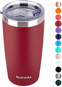 SUNWILL 20oz Tumbler with Lid, Stainless Steel Vacuum Insulated Double Wall Travel Tumbler, Durable Insulated Coffee Mug, Powder Coated Wine Red, Thermal Cup with Splash Proof Sliding Lid