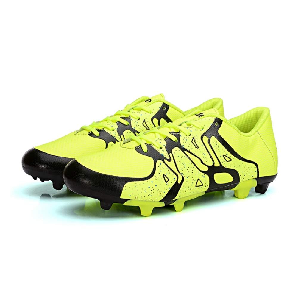 Jaune DDSHYNH Chaussures de Football pour Adultes, Chaussures de Football FG en Plein air Grass et Chaussures à Crampons EUR35