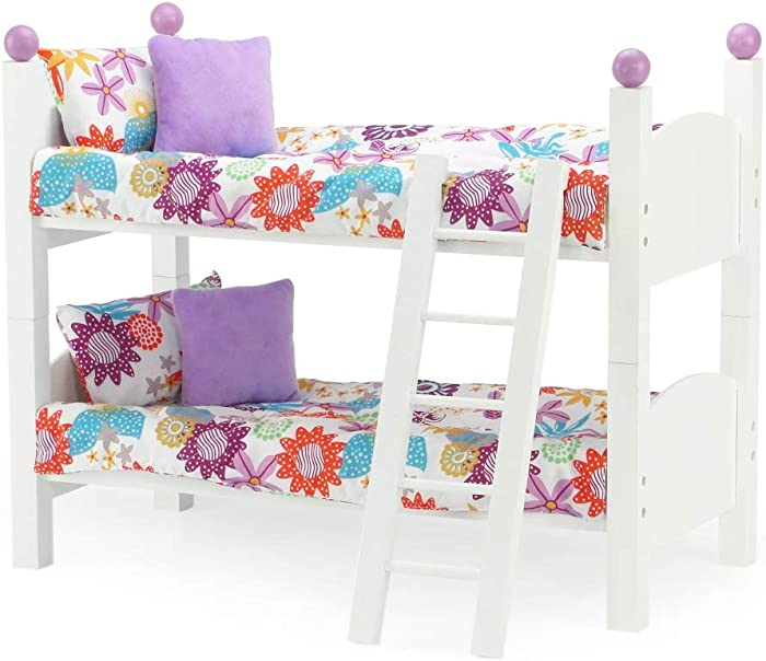 "18 Inch Doll Furniture for American Girl Dolls | 18"" Doll Bunk Bed - 2 Single Stackable 18 Inch Doll Beds 
