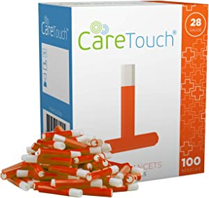 Care Touch Safety Lancets - 100 Lancets, 28 Gauge - Diabetic Supplies for Blood Glucose Testing, No Lancing Device Needed
