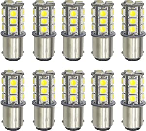 Qoope - Pack of 10-6500K White 1142 BA15D LED Bulbs 5050 18-SMD Replacement Lamps for 12V Interior RV Camper Trailer Lighting Boat Yard Light Tail Bulbs