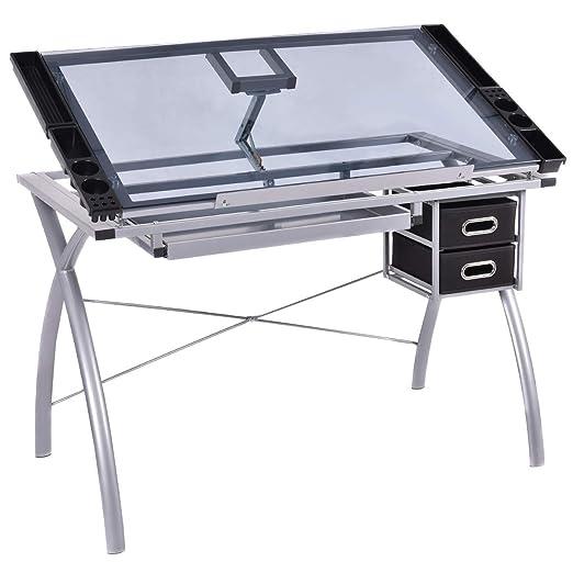 Mesa de dibujo Casart, escritorio con tabla de cristal y mesa de ...