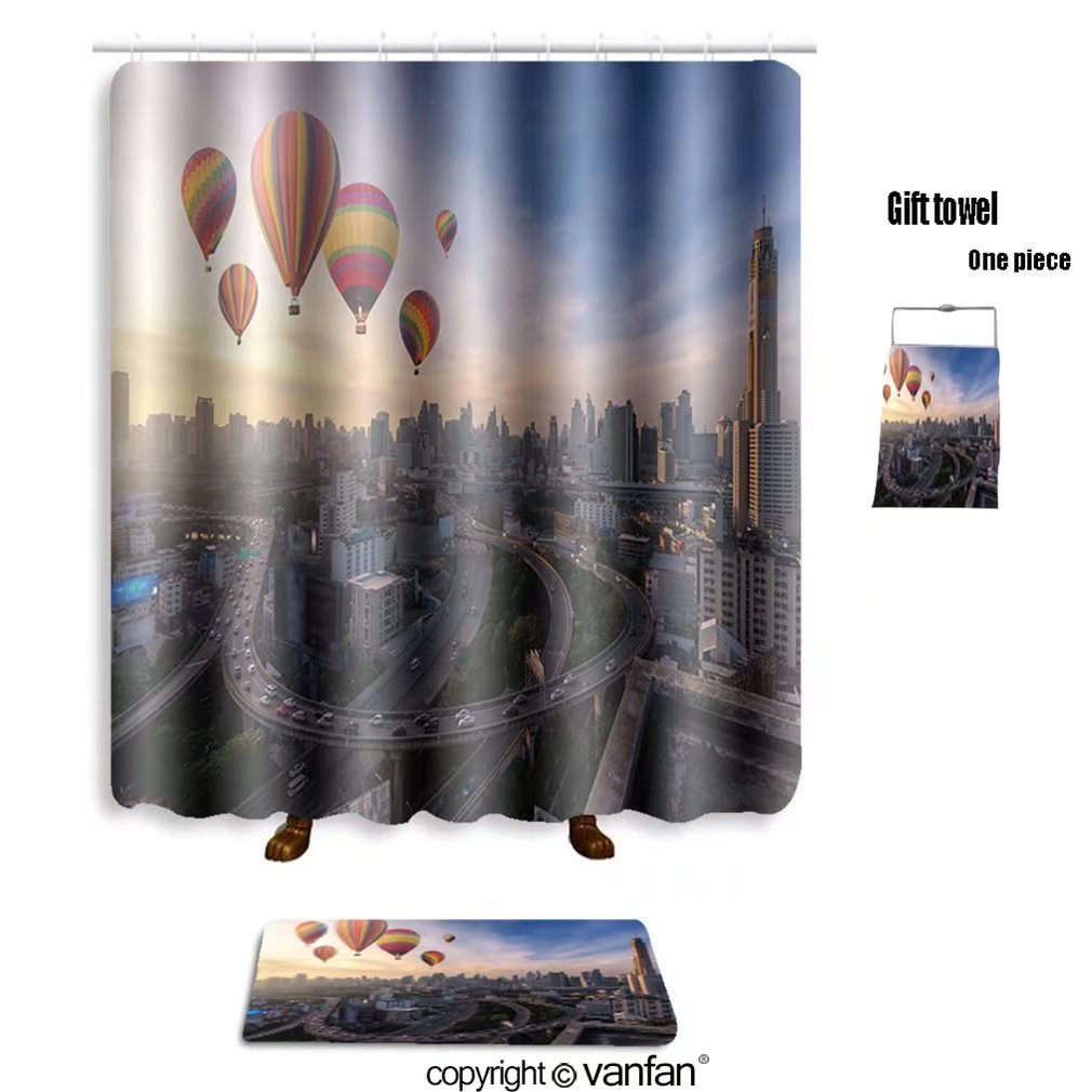 vanfan bath sets with Polyester rugs and shower curtain hot air balloons over cityscape 538645345 shower curtains sets bathroom 48 x 78 inches&23.6 x 15.7 inches(Free 1 towel and 12 hooks)
