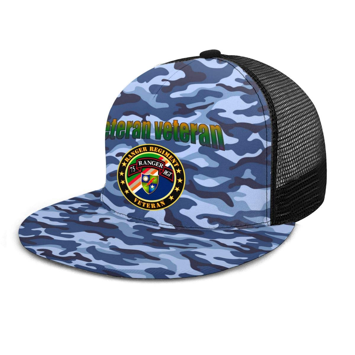 Ranger Regiment Veteran Classic Grid Caps Flat Along Baseball Hat Snapback Men Women Hat Adjustable