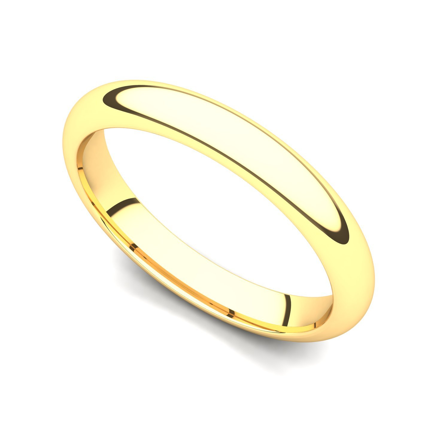 Juno Jewelry 18k Yellow Gold 3mm Domed Plain Wedding Band Ring