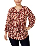 Style & Co. Plus Size Printed Lace-up Peasant Top (2X-Large)