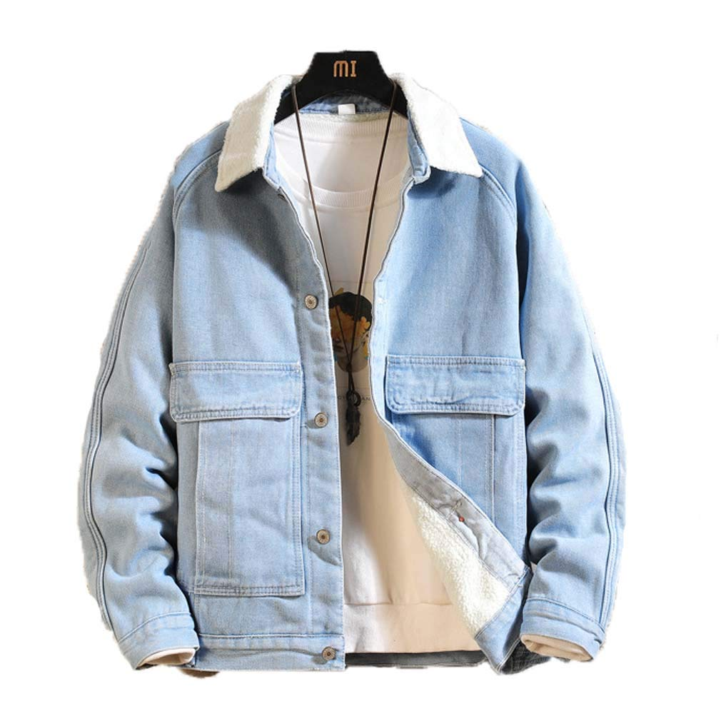 Men Women Sherpa Lined Denim Jacket Fleece Trench Coats Classic Trucker Jackets Quilted Outerwear for Camping