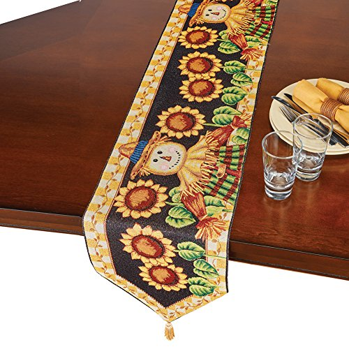 Winston Tapestry - Collections Etc Fall Scarecrow and Sunflowers Tapestry Woven Table Runner/Topper