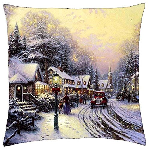 - Village Christmas - Thomas Kinkade - Throw Pillow Cover Case (18