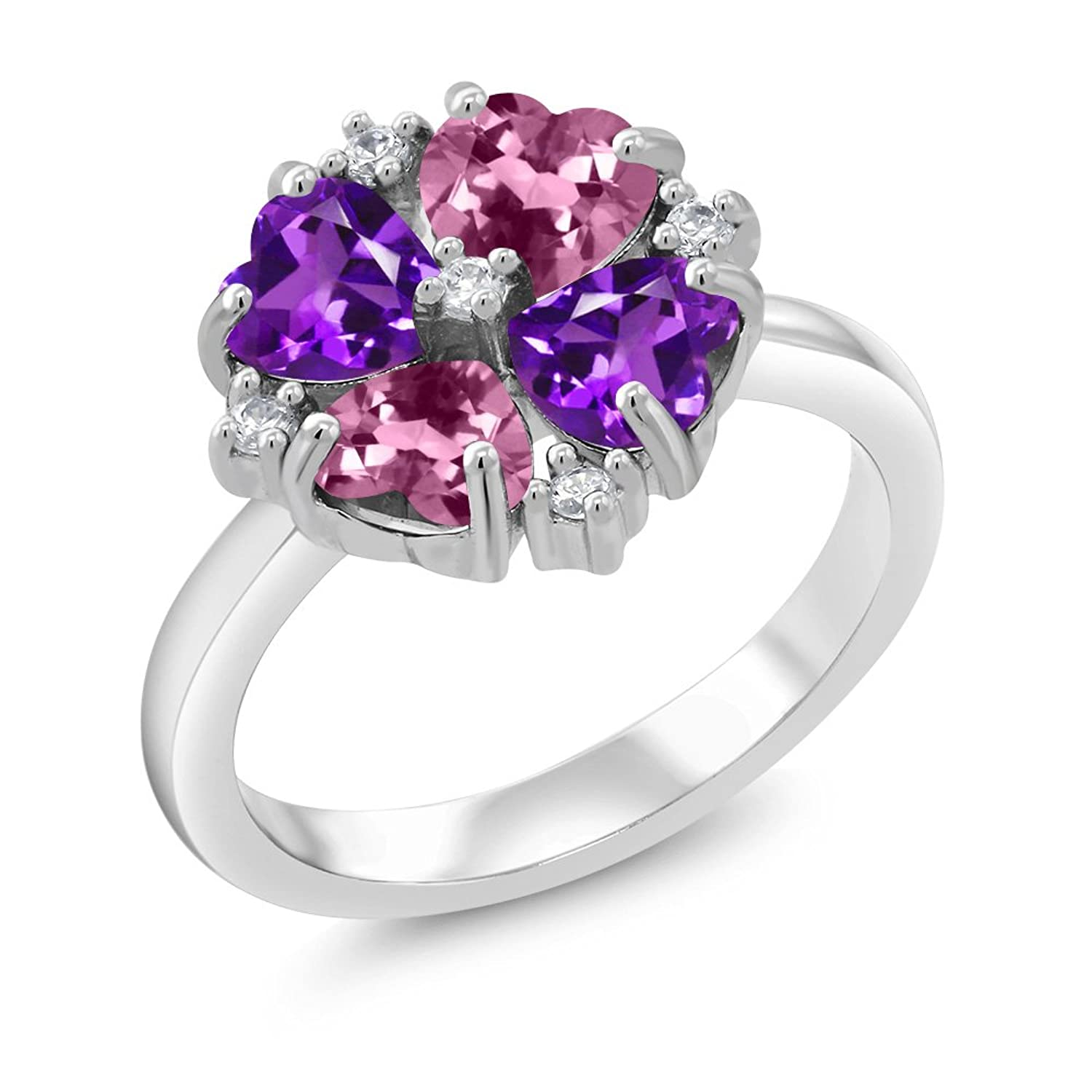 1.76 Ct Heart Shape Pink Tourmaline Purple Amethyst 925 Sterling Silver Ring - Sizes 5 -9