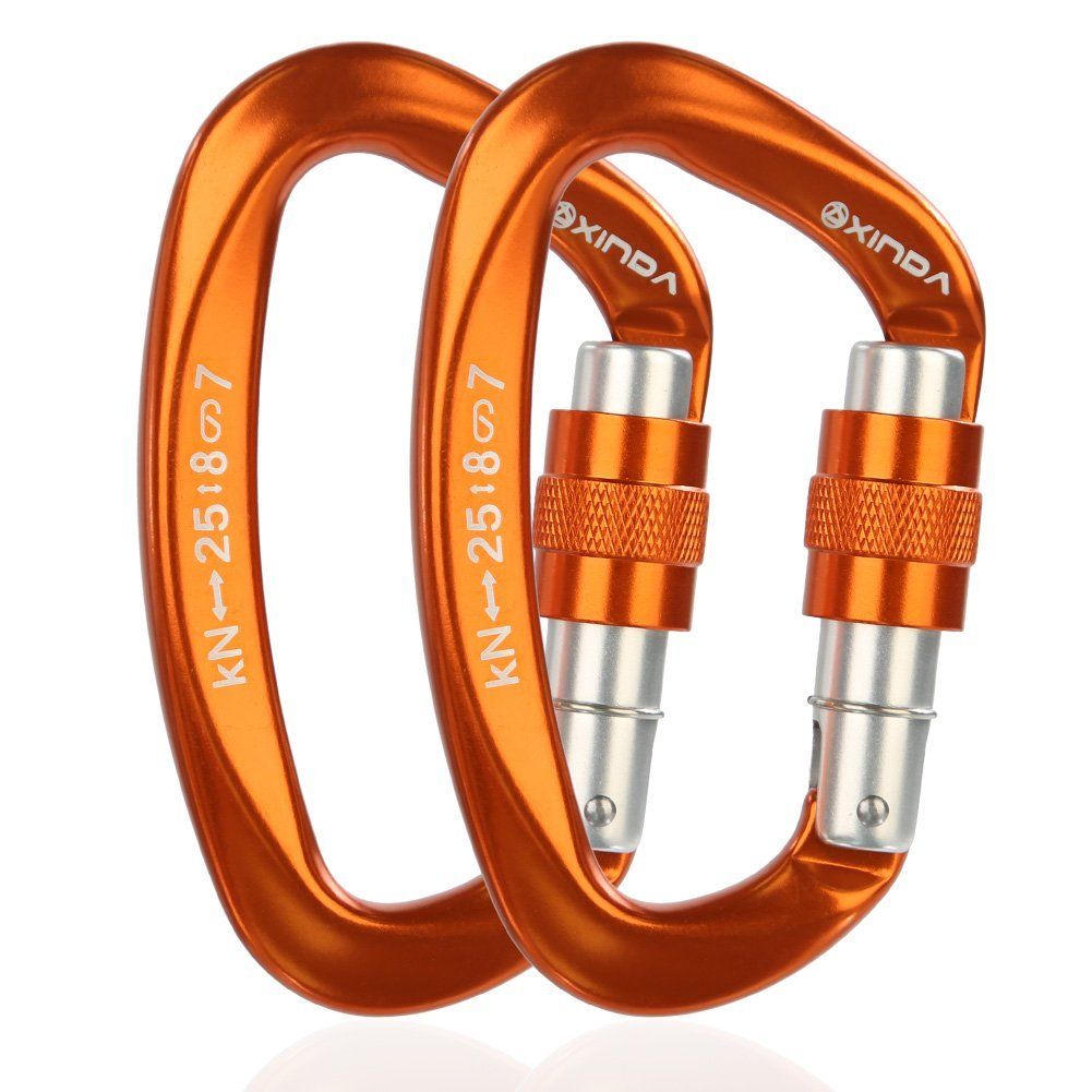 XINDA Screwgate Locking Carabiner Clip - Professional Rock Climbing Carabiner Screw Lock, Heavy Duty Carabiners for Climbing, Mountaineer, Hammock, Camping, Outdoor Equipment(2 pcs Orange) by XINDA