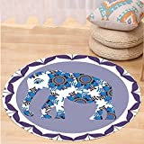 VROSELV Custom carpetEthnic Decorations Elephant In Medallion Pattern With Tulip Flowers Bedroom Living Room Dorm Decor Lilac Round 72 inches