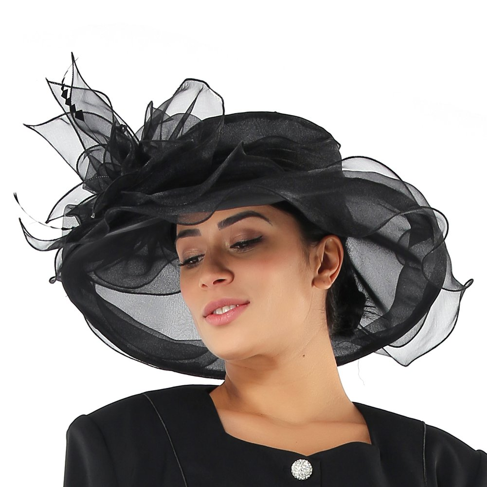 Black1 June's Young Women Hats Summer Big Hat Wide Brim Top Flower White Black