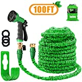 """Garden Hose Pipe 100FT Magic Expanding Hose with 3/4"""" to 1/2"""" Brass Fittings Valve 8 Function Spray Gun Nozzle Wall Holder"""
