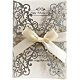 AdasBridal 50Pcs Glitter Floral Laser Cut Wedding Invitation Cards with Envelope Blank Inner Sheet and Ribbon for…