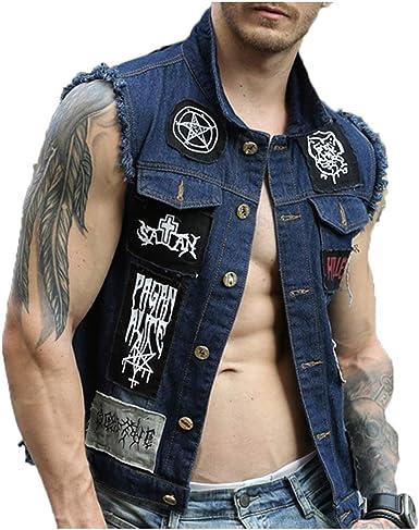 Vest Chaleco De Mezclilla Parche Azul Tendencia De Moda Retro Calle Punk Juventud Guapo Pareja Sin Mangas Cowboy Gilets Amazon Es Ropa Y Accesorios