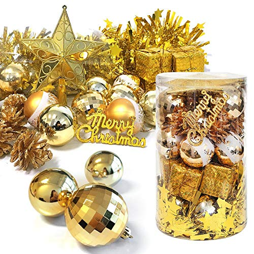 MVOWIZON Christmas Assorted Pendant Shatterproof Ball Ornament Set Seasonal Decorations with Reusable Hand-Help Gift Boxes Ideal for Xmas, Holiday and Party(32ct, Gold), gold-2017 (Frostys Favorite Ornament)