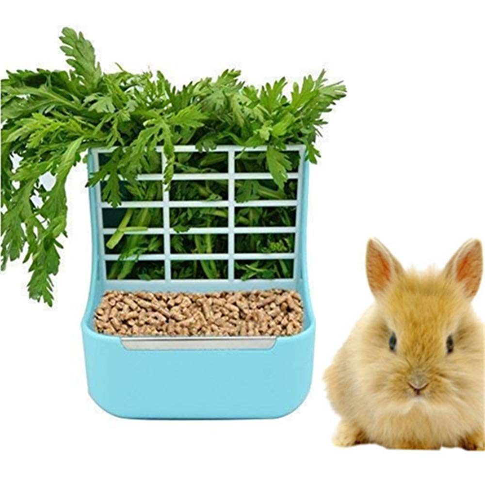 zswell Hay Food Bin Feeder, Hay and Food Feeder Bowls Manger Rack for Rabbit Guinea Pig Chinchilla and Other Small Animals (Blue) by zswell