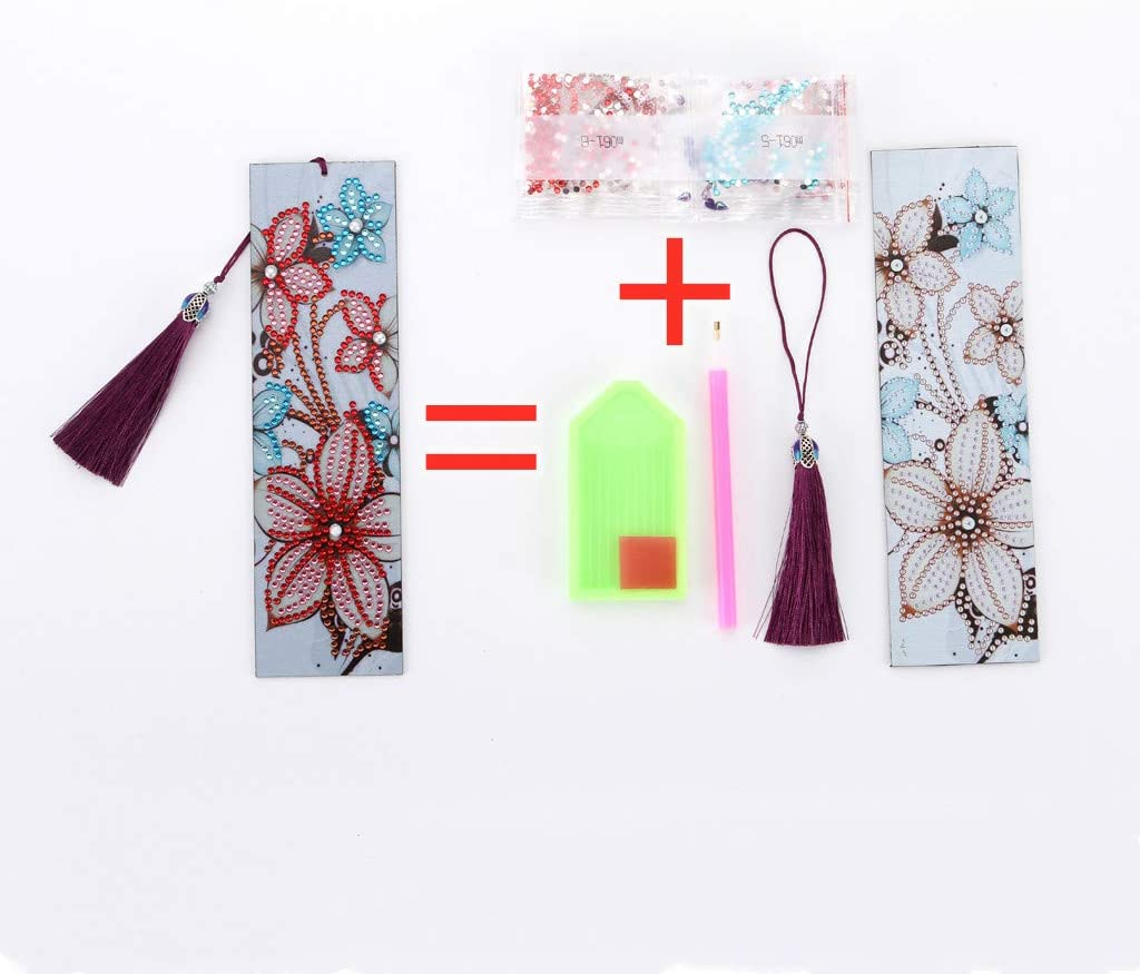 8.3x2.4 Inch GAD 5D Diamond Painting Bookmarks Flower Rose Cross Kits for Adults DIY Bookmarks with Tassel Arts Crafts Set Rhinestone Dot Gifts 21cm Length and 6cm Width