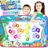 [2018 NEW] Super Large 34.5'' Kids Magic Water Drawing Mat Aqua Magic Water Doodle with 4 Pens Clips 6 Color Painting Writing Pad Board Educational for Boys Girls Travel School Summer Outdoor Gift