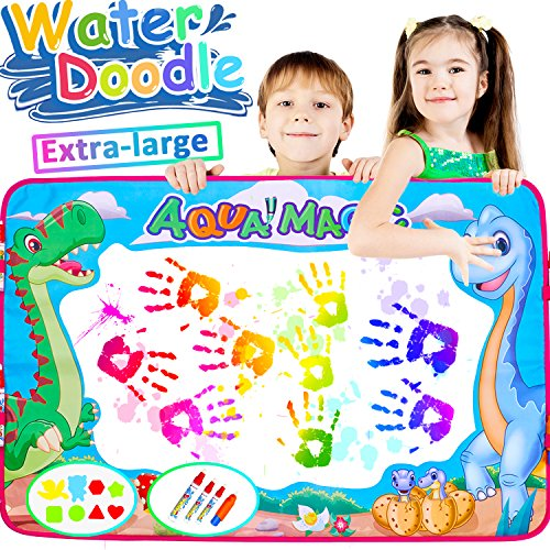 AMENON Aqua Doodle Mat 6 Color Dinosaur Super Large Magic Water Drawing Painting Writing Pad Board with 4 Pens Clips Kids Educational Learning Toy Gift for Boys Girls Parents Playing 34.5