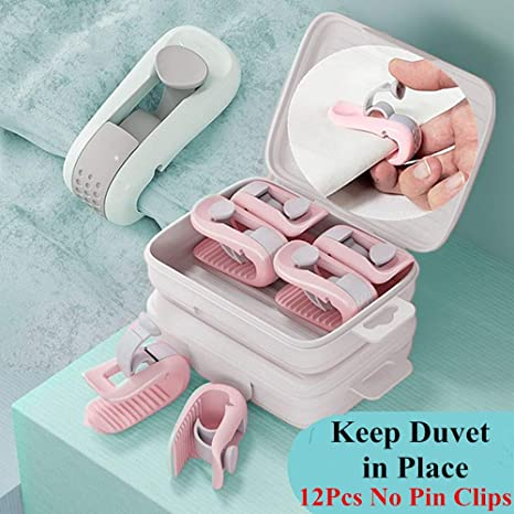 Pink 6pcs No Pins Duvet Cover Clips Comforter Fasteners Keep Corner in Place Quilt Fixer Anti-move Duvet Cover Clips for 1 Comforters Grippers Prevent Bunching and Shifting Duvet Fasteners