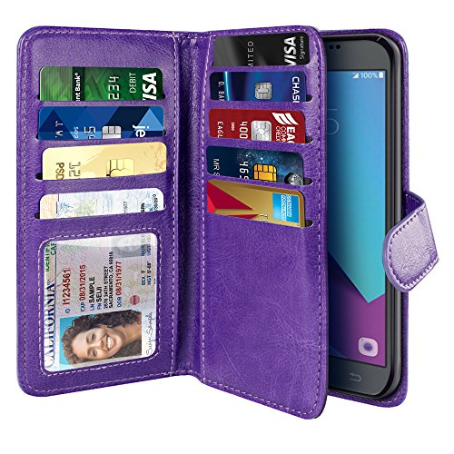 Flap Double Wallet (NEXTKIN Galaxy J3 Emerge Case, Leather Dual Wallet Folio TPU Cover, 2 Large Pockets Double flap Privacy, Multi Card Slots Snap Button Strap For Samsung Galaxy J3 Emerge J327 2017 2nd Gen - Purple)