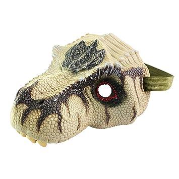 Yeahibaby Novedad Máscara de Dinosaurio Simulación Máscara de Dinosaurio Modelo Halloween Divertido y Truco Juguetes Máscara