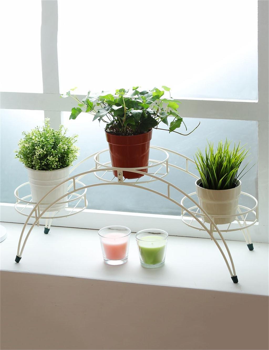 LB huajia ZHANWEI Einfache Gewölbte Eisenblumentopf Regal Stand-Blumentöpfe für Indoor, Outdoor, Balkon