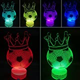 3D Optical Illusion LED Night Light Lamp Crown Soccer By AZALCO