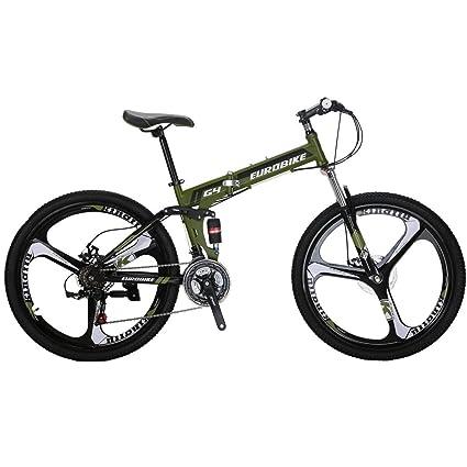 0c1e5dc694d Eurobike EURG4 Mountain Bike 26 Inches 3 Spoke Dual Suspension Folding Bike  21 Speed MTB Army