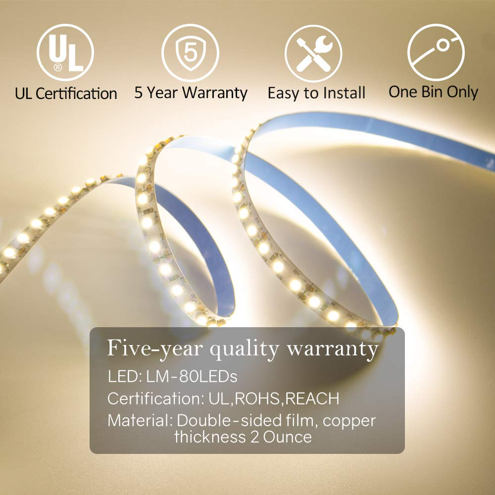 Hitlights Warm White Led Light Strip Premium High Ul Listed Rgb Lights By The Foot 300 Leds Per Reel Density 3528 164 Feet 600 3000k Lumens 12v Dc Tape