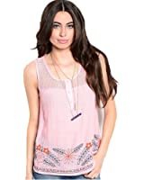 247 Frenzy Women's Pink Embroidered Button-Front Tank