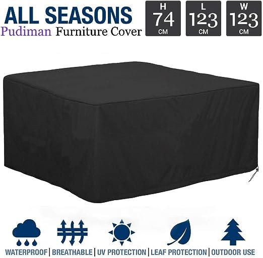 Hitasche - Funda para mesa de jardín, funda de protección impermeable para muebles de jardín e invierno, muebles de jardín, 123 X 123 X 74cm: Amazon.es: Hogar