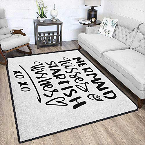 Xo Polyester Area Rug Mat,Mermaid Kisses Starfish Wishes Love Valentines Message Inspirational Quote Image with No-Slip pad Black and White 79