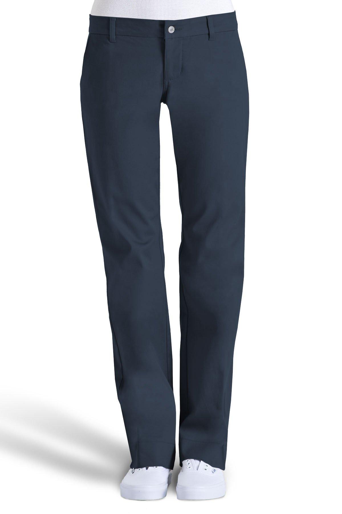 Dickies Girls Juniors' Bull 4-Pocket Bootcut Pant-School Uniform,Dark Navy,7