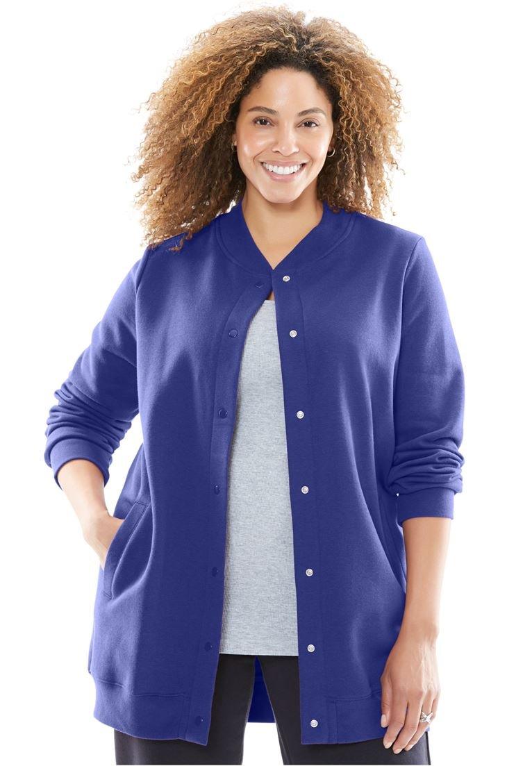 Women's Plus Size Fleece Baseball Jacket