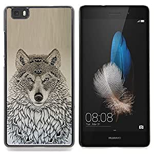 "For Huawei Ascend P8 Lite (Not for Normal P8) Case , Patrón Lobo nativo americano Negro Dibujo"" - Diseño Patrón Teléfono Caso Cubierta Case Bumper Duro Protección Case Cover Funda"
