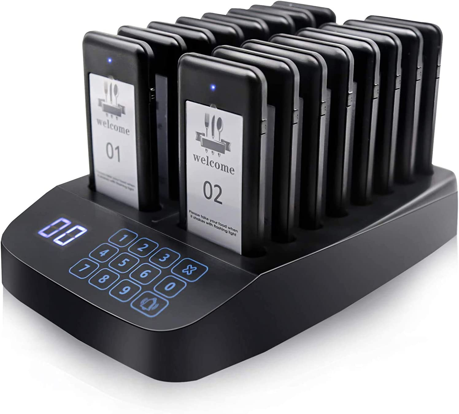 Wireless Restaurant Pager System,Paging System with 16 Pieces Rechargeable Buzzer Coaster Pagers,Touch Screen keypad Call Button for Food Truck, Clinic,Church,Coffee,Shop,Bakery