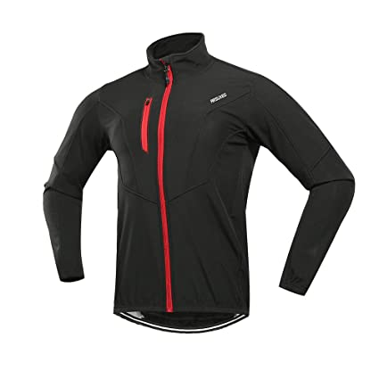 ARSUXEO Winter Warm UP Thermal Fleece Cycling Jacket Windproof Waterproof  Breathalbe Reflective Black size Medium f288a3f58