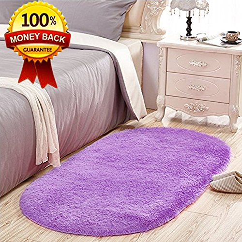 Softlife Soft Velvet Oval Area Rugs Modern Shaggy Carpet Cute Rug for Bedroom Girls Room Dining Room Home Decor 2.6' X 5.3' Purple by Softlife