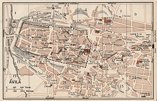 Avila. Vintage Ciudad Ciudad Plan de mapa. España. Ávila Old ...