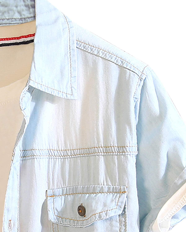 Pishon Mens Cotton Button Down Casual Slim Fit Jean Short Sleeve Chest Pocket Denim Shirt