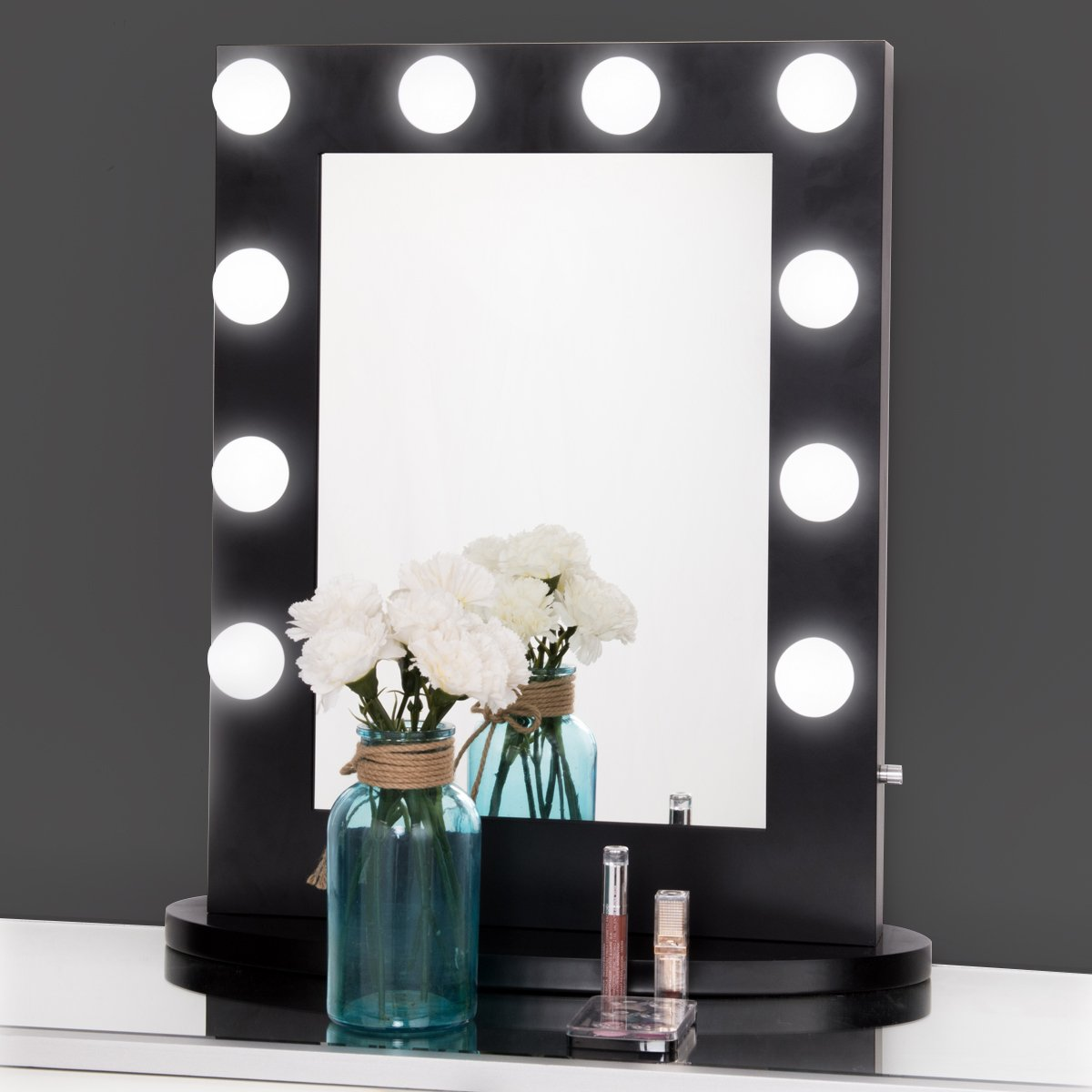 Tangkula Hollywood Makeup Vanity Mirror W/Light Tabletops Lighted Mirror Dimmer LED Illuminated Cosmetic Mirror LED Dimmable Bulbs Black