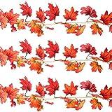 Sunshane 5.9 Feet Fall Garland Artificial Maple Leaf Garland Autumn Thanksgiving Party Room Decoration (3 Pack)