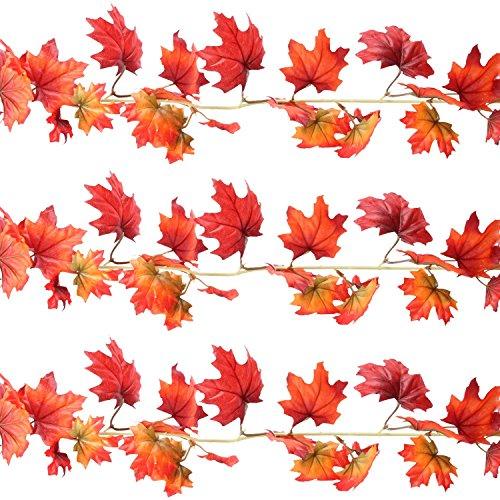 (Sunshane 3 Pack 5.9 Feet Fall Garland Artificial Maple Leaf Garland Autumn Thanksgiving Party Room)