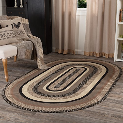 VHC Brands 45741 Farmhouse Flooring Miller Farm Charcoal Jute Oval 60x96 Rug, Bleached White