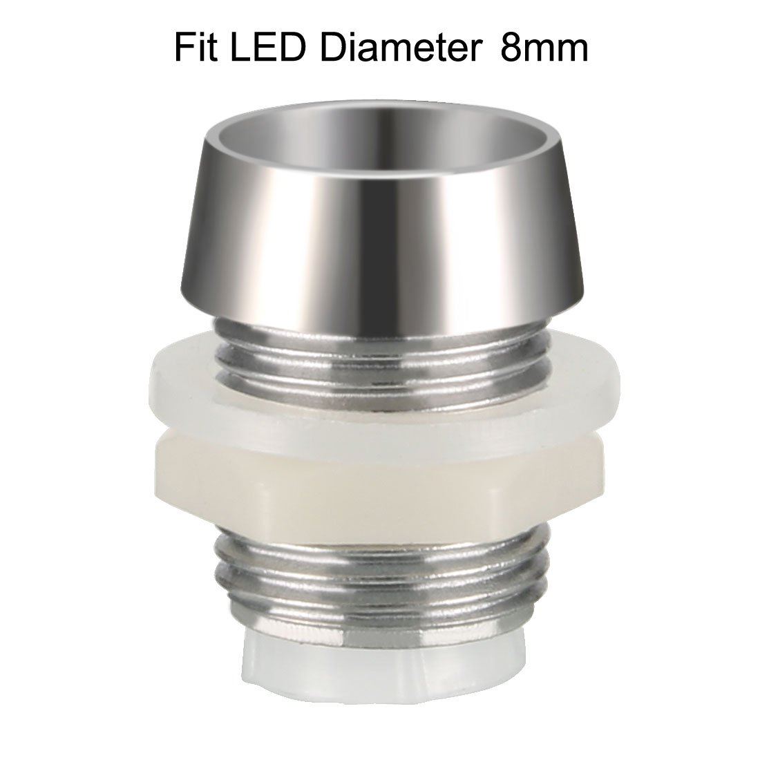 sourcing map 20pcs 8mm LED Lamp Holder Light Bulb Socket Plastic Chrome Plated for Light-emitting Diode Lighting